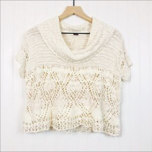 Free People Crochet Airy Cowl Neck Sweater M
